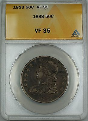 1833 Capped Bust Silver Half Dollar 50c Coin ANACS VF-35