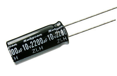 4pcs Rubycon ZLH 2200uF 10v  105c Radial Electrolytic Capacitor  Low impedance