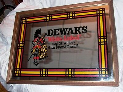 Dewar's White Label Scotch Whisky John Dewar & Sons Ltd Framed Mirror Sign