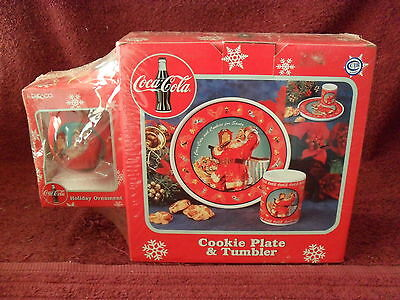 "1998 COCA-COLA ""SANTA"" Collectible ""COOKIE PLATE & TUMBLER"" Holiday GIFT SET"