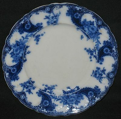 Antique Flow Blue English Plate Lois Pattern Royal Semi Porcelain Wood & Son