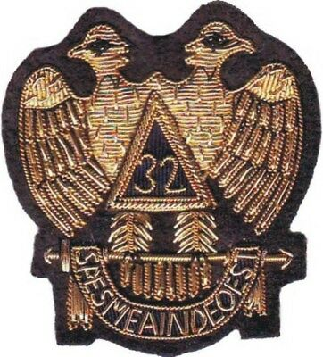 Masonic Aasr Scottish Rite 32 Degree Emblem Patch Hand Embroidered (Me-083)