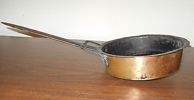 Antique Vintage Hand Forged Copper And Cast Iron Handle Pan