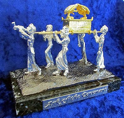 Jewish Ark of The Covenant Replica Gold Silver Pewter on Genuine Jerusalem Stone