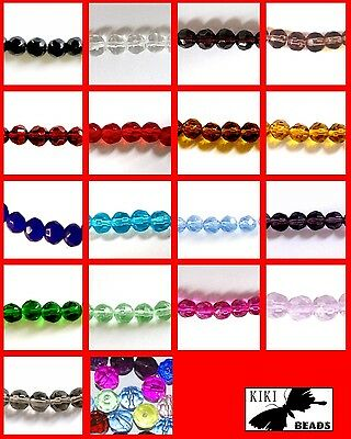 200x4mm / 100x6mm / 50x8mm / 30x10mm Crystal Glass Faceted Round Beads