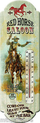 Vintage style Red Horse Saloon themed  Metal Thermometer # 01324