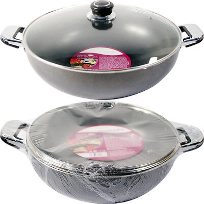 32Cm Non Stick Aluminium Wok  Saucepan Frying Stir Pan Chinese Cooking Asian