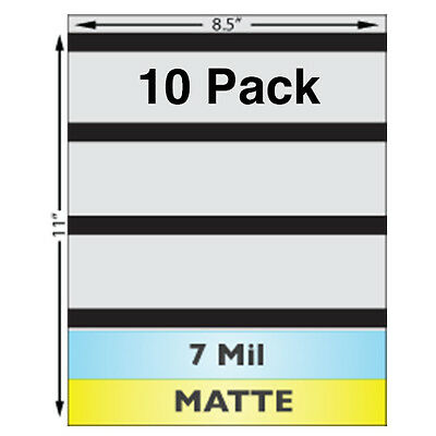"7 Mil MATTE Full Sheet (8.5"" x 11"") Laminates w/ Magnetic Stripes - 10 Pack"