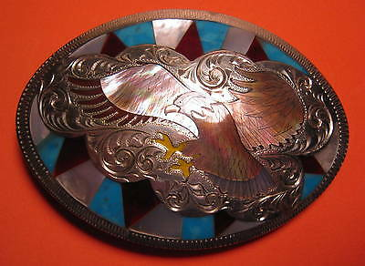 OLD Hand Made Soaring Eagle with Beautiful Inlay Belt Buckle MAKE OFFER