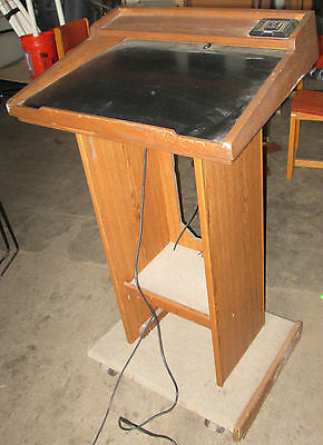 Wooden Podium Lectern Stand Rolling