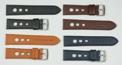 Quality leather rally racing strap with stitching thick heavy duty mens 20-24mm