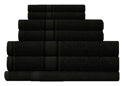 Black 100%  Cotton Bath Towel Range 7 Pieces Set or Single Pieces Choice
