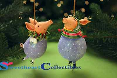 Patience Brewster Krinkles Fred & Esther Pig  Ornaments
