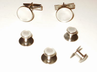 Cufflinks and Tuxedo Studs Silver, Mother of Pearl Gift Boxed New