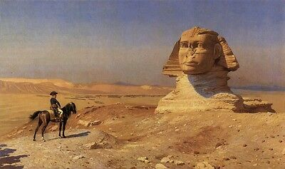 Oedipus Napoleon Bonaparte in Egypt Before Sphinx Gerome Cotton Canvas Picture
