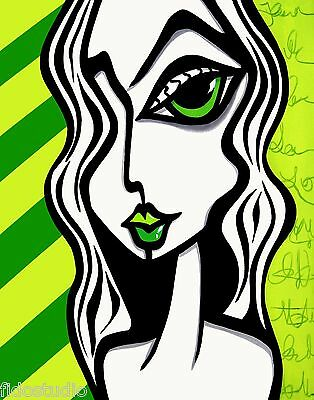 Pop ART Abstract MODERN original Green girl fun print by Fidostudio - Pieces