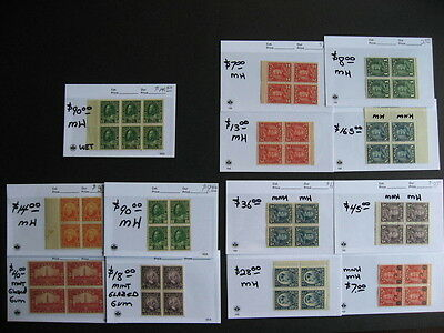 CANADA nice old time MH blocks,from an old hoard on sales cards!