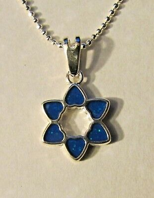 Jewish Silver Hearts shaping Star of David w/ Simulated Opals Free Silver Chain