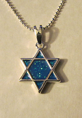 Jewish Silver Star of David Simulated Opal in Center Free Silver Chain