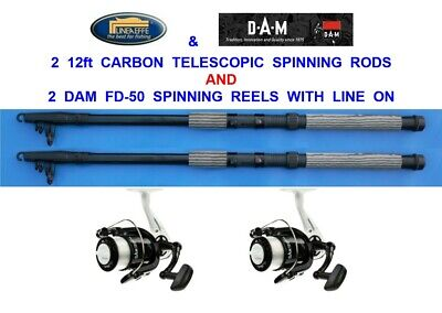 2 LINEAEFFE 12ft CARBON TELESCOPIC RODS+FD30 REELS COARSE SEA FISHING SPINNING