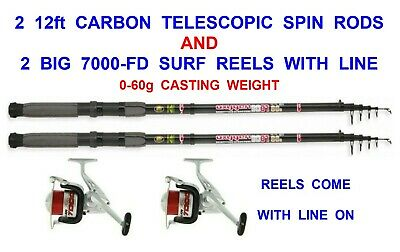 2 CARBON 12ft TELESCOPIC RODS+FD70 REELS SEA COARSE FISHING SPINNING PIKE BASS