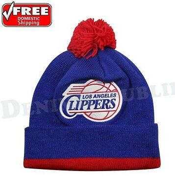 LOS ANGELES CLIPPERS Mitchell & Ness Cuffed Knit NBA Beanie Pom Jersey Striped