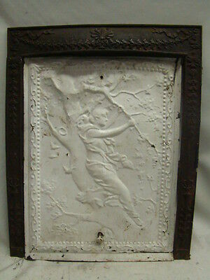 Antique Late 1800's Tin Ornate Summer Fireplace Cover Cherub In A Tree  B