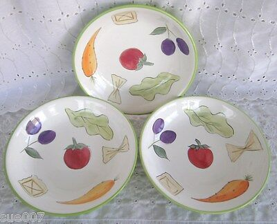 Set of 3 Tabletops Unlimited Italian Garden Hand Painted Collection Pasta Bowls