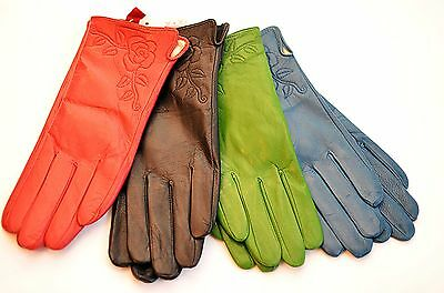 New Ladies Lined Soft Leather Gloves Rose Black Blue Green Pink PurpleBrown Red