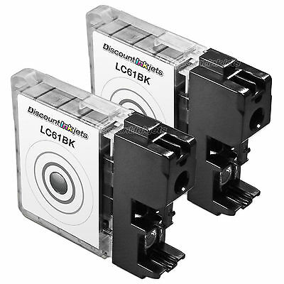 New 2 Pack LC61 LC61BK Black Printer Ink Cartridge for Brother MFC-J415W