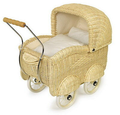 Large Cane Wicker Dolls Pram Old Fashion Vintage Look Pushchair Buggy doll Play
