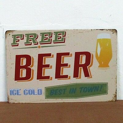 """FREE BEER"" Metal Tin Sign BAR CLUB HOME Vintage Wall Decor Old Time Decoration"