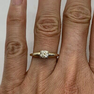 Antique Art Deco 14k yellow white gold 0.20ct diamond solitaire engagement ring
