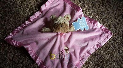 Carters Child of Mine plush PINK embroidered BABY Security Blanket puppy dog NWT