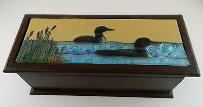 Loon Fused Art Glass Birds Rectangular Wooden Treasure Box Lodge Made Ecuador