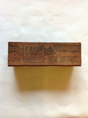 Antique Kraft 5 Lbs Brick Cheese Wooden Box Blended With American Cheese