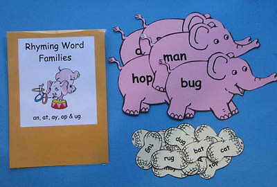 Teacher Made Literacy Center Resource Game Kit  Rhyming Word Families
