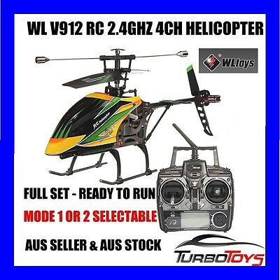 New - Wl 4Ch 2.4Ghz V912 Outdoor Helicopter - Single Blade -Aus Seller & Stock