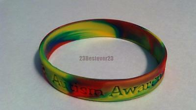 2 Autism Awareness Multi Colored Puzzle Pieces Silicone ADULT Bracelet Wristband