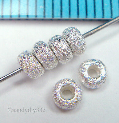 20x BRIGHT STERLING SILVER STARDUST RONDELLE BEADS 3.5mm N341