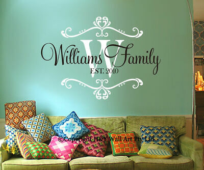 Custom Personalised Family Name Wall Stickers Decor Art Mural Removable Quotes
