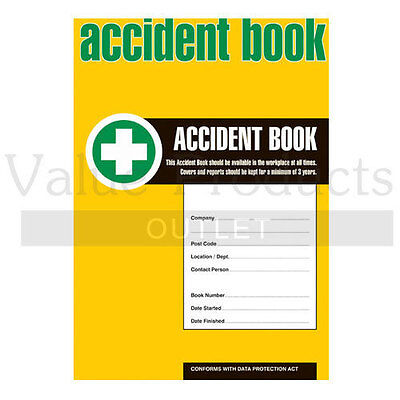 HSE Compliant Accident Injury Record Book 50 Page A4 Sheet - Business or School