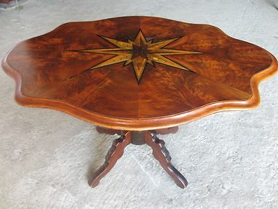 Victorian Walnut and star inlaid shaped occasional table (ref 054)