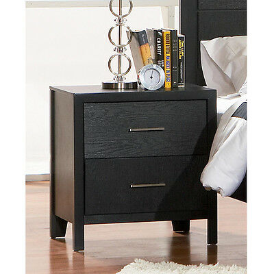 Grove Modern Nightstand Bed Side Night Stand w/ 2 Drawers Wood in Black Finish
