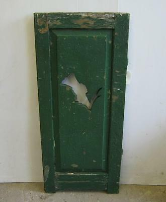 Vintage 2 Panel Wooden Shutter With Flower Cutout Green OLD 2565-13