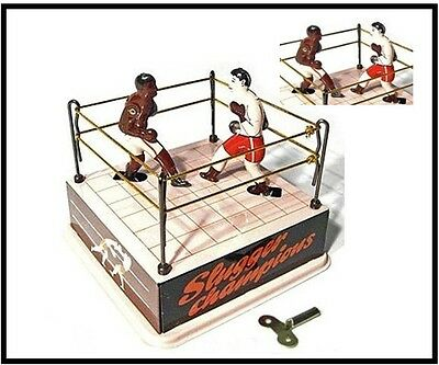 Boxing Ring Classic Tin Wind Up 1900 remake NEW  RETRO