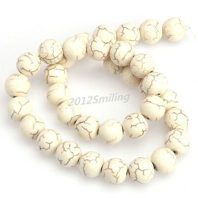 White Howlite Turquoise Gemstone Round Beads Jewelry Accessories 8/10/12/14mm