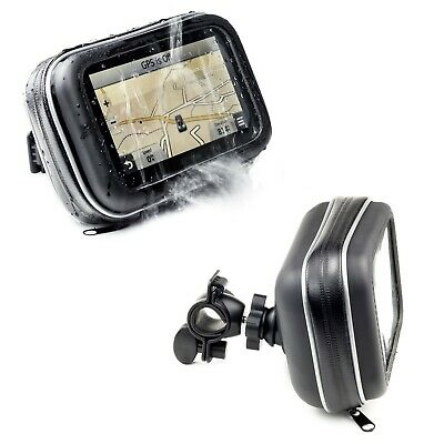 Motorcycle Handlebar Bike Mount Holder With Waterproof Case For 5'' GPS Sat Nav