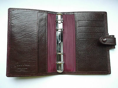 Genuine Filofax Kid Leather Pocket Size File Dark Burgundy Diary Organiser  New