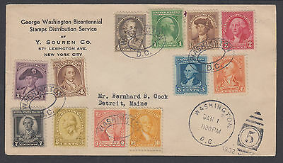 US Sc 704-715 FDC. 1932 Washington Bicentennial cplt, Y. Souren Cachet